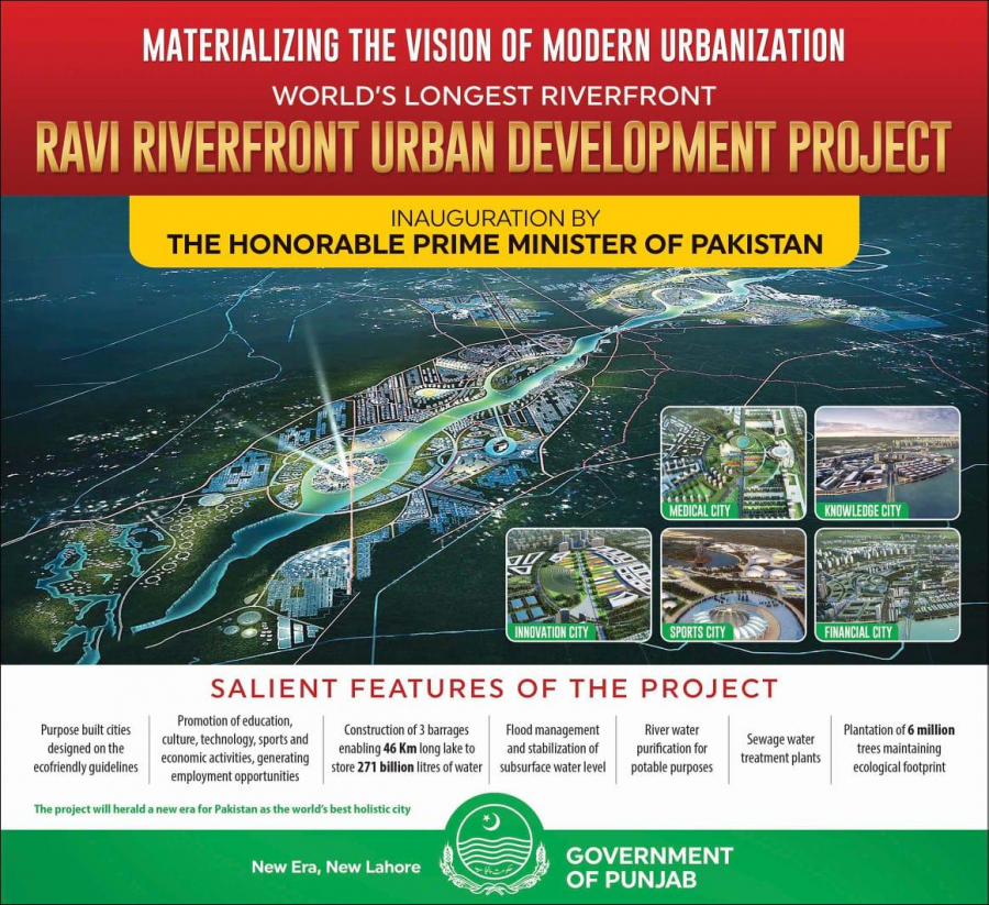Prime Minister Imran Khan will inaugurate the Ravi River Urban Development Authority