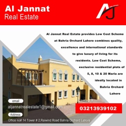 5, 8, 10 & 20 Marla Plots are available for sale in Bahria Orchard